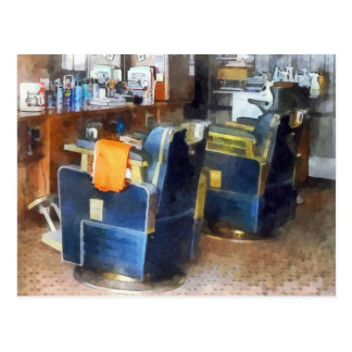 Barber Chair With Orange Barber Cape Post Cards