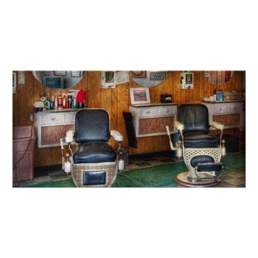 Barber - Frenchtown, NJ - Two old barber chairs Personalized Photo Card