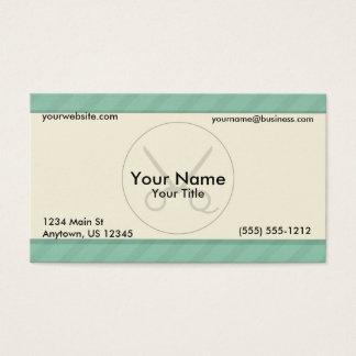 Barber Green Stripes Business Card