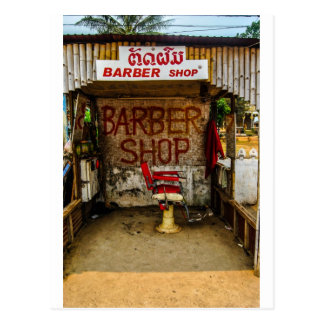 Barber 'Hut' in Laos. Postcard