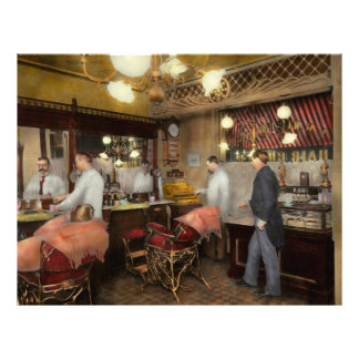 Barber - L.C. Wiseman Barbershop, NY 1895 Full Color Flyer