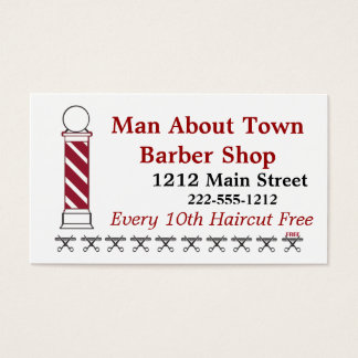 Barber Punch Card Customer Loyalty Business Card