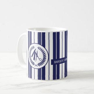 Barber salon navy white striped modern coffee mug