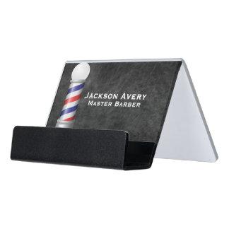 Barber Shop Barber Pole Leather Desk Business Card Holder