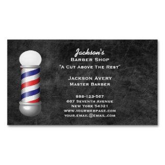 Barber Shop Barber Pole Leather Magnetic Business Card