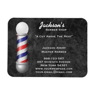 Barber Shop Barber Pole Leather Rectangular Photo Magnet