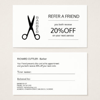 Barber shop black and white referral template business card