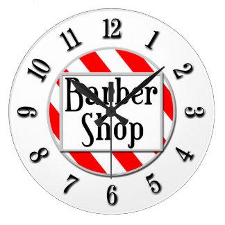 Barber Shop Black White Red Retro Clock