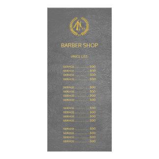 Barber shop dark grey leather look price list 10 cm x 23 cm rack card