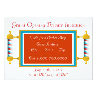 Barber Shop  Grand Opening 5x7 Paper Invitation Card