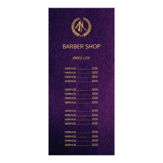 Barber shop purple leather look price list rack card