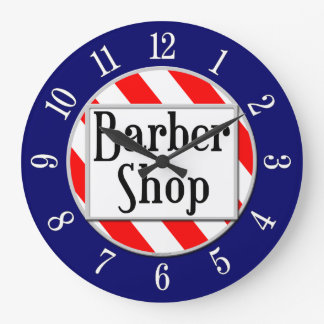 Barber Shop Red, White and Blue Retro Clock