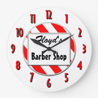 Barber Shop Red White Custom Retro Clock