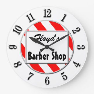 Barber Shop Retro Red White Custom Clock