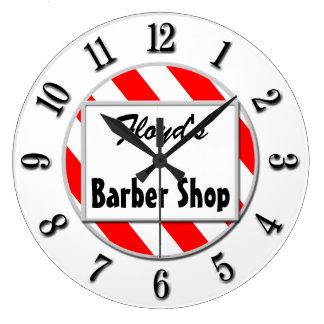 Barber Shop Retro Red White Custom Clock