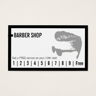 Barber Shop Simple Frame Loyalty Punch Business Card