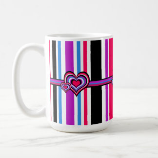 Barber shop stripes, hearts, pink, blue basic white mug