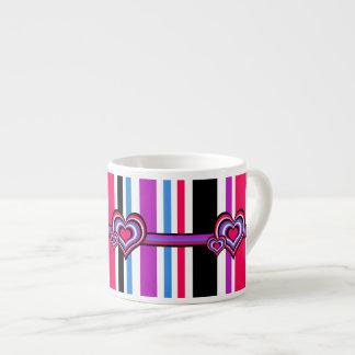 Barber shop stripes, hearts, pink, blue espresso mug