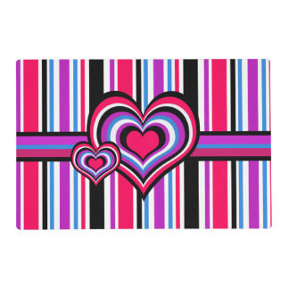 Barber shop stripes, hearts, pink, blue laminated place mat