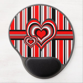 Barber shop stripes with heart red gel mouse pad