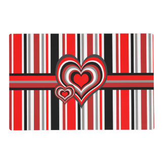 Barber shop stripes with heart red placemat