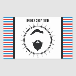 Barber shop template rectangular sticker
