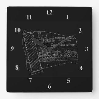 Barber Shop | Vintage Sign Barber Pole Black White Square Wall Clock