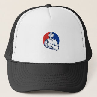 Barber With Hair Clipper Front Circle Retro Trucker Hat