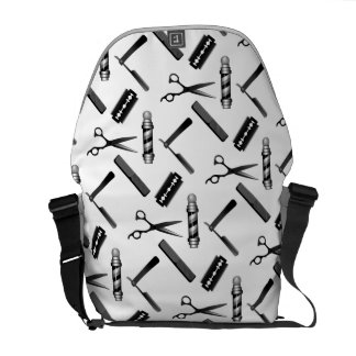 Barber's Shop Black and White Pattern Commuter Bag