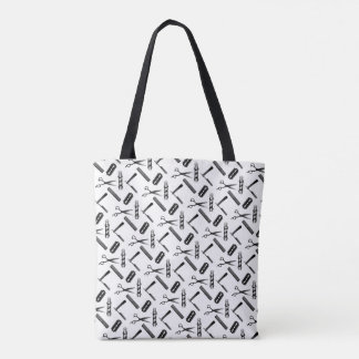Barber's Shop Black and White Pattern Tote Bag