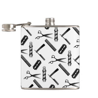 Barber's Shop Pattern Hip Flask