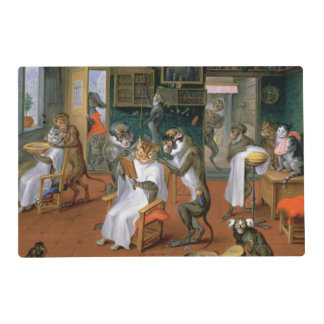 Barber's shop with Monkeys and Cats Laminated Placemat