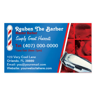 Barbershop Barber (Barber pole and clippers) Business Card Template