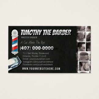 Barbershop Business Card-Barber pole, clippers Business Card