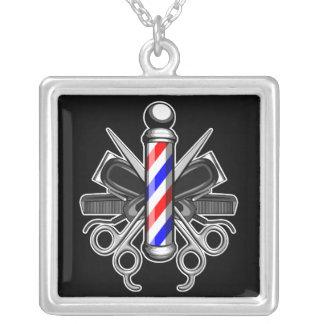 Barbershop Logo Square Pendant Necklace