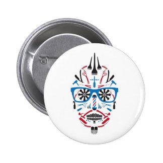barbershop sugar skull 6 cm round badge