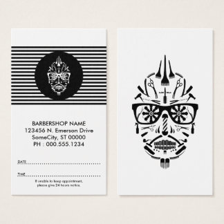 barbershop sugar skull appointment card