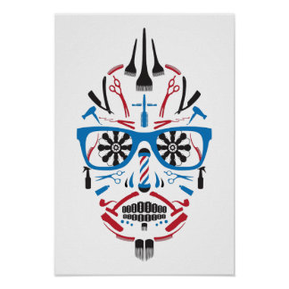 barbershop sugar skull poster