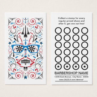 barbershop sugar skull punch card
