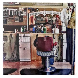 Barbershop With Coat Rack Large Square Tile
