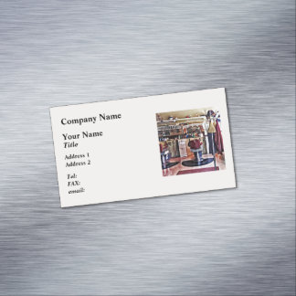 Barbershop With Coat Rack Magnetic Business Cards
