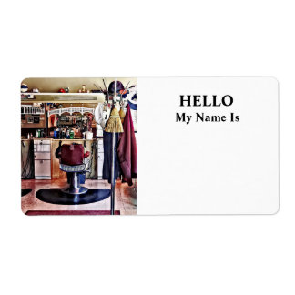Barbershop With Coat Rack Shipping Label