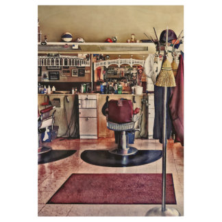 Barbershop With Coat Rack Wood Poster
