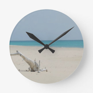 Barbuda Driftwood Beach Round Clock