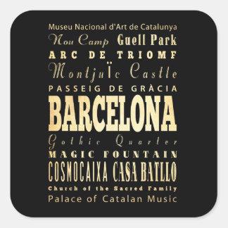 Barcelona City of Spain Typography Art Square Sticker