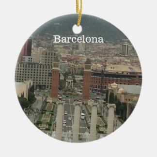 Barcelona City View Round Ceramic Decoration