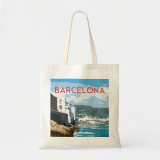 Barcelona coast, Spain vintage travel style