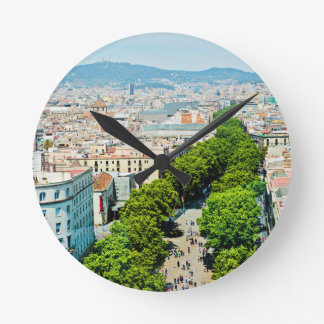 Barcelona from above round clock