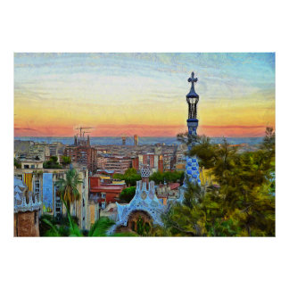 Barcelona. Panorama of the city from Park Guell. Poster