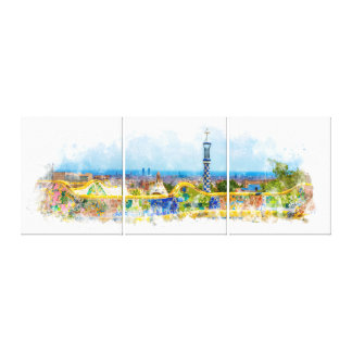 Barcelona Park Guell Colorful Photo Watercolor Canvas Print